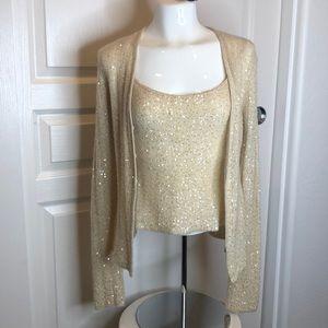 Sequin Gold Tone Cami & Sweater Set